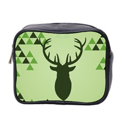 Modern Geometric Black And Green Christmas Deer Mini Toiletries Bag 2 Side by Dushan
