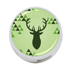 Modern Geometric Black And Green Christmas Deer 4 Port Usb Hub (two Sides)  by Dushan