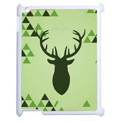Modern Geometric Black And Green Christmas Deer Apple Ipad 2 Case (white) by Dushan