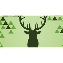 Modern Geometric Black And Green Christmas Deer You Are Invited 3d Greeting Card (8x4)  by Dushan