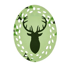 Modern Geometric Black And Green Christmas Deer Oval Filigree Ornament (2 Side)