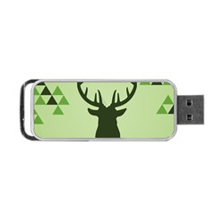 Modern Geometric Black And Green Christmas Deer Portable Usb Flash (one Side) by Dushan