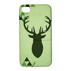 Modern Geometric Black And Green Christmas Deer Apple Iphone 4/4s Hardshell Case With Stand by Dushan