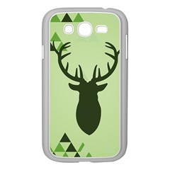 Modern Geometric Black And Green Christmas Deer Samsung Galaxy Grand Duos I9082 Case (white) by Dushan