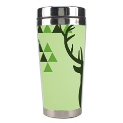 Modern Geometric Black And Green Christmas Deer Stainless Steel Travel Tumblers by Dushan