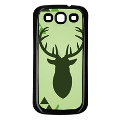 Modern Geometric Black And Green Christmas Deer Samsung Galaxy S3 Back Case (black) by Dushan