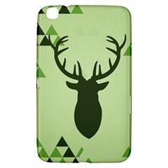 Modern Geometric Black And Green Christmas Deer Samsung Galaxy Tab 3 (8 ) T3100 Hardshell Case  by Dushan
