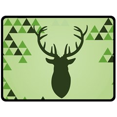 Modern Geometric Black And Green Christmas Deer Double Sided Fleece Blanket (large)  by Dushan