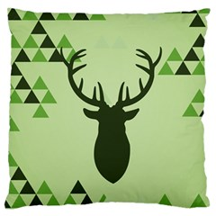 Modern Geometric Black And Green Christmas Deer Large Flano Cushion Cases (one Side)  by Dushan