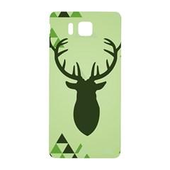 Modern Geometric Black And Green Christmas Deer Samsung Galaxy Alpha Hardshell Back Case by Dushan