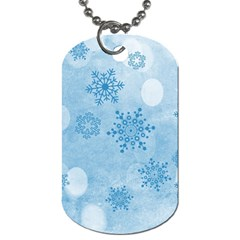 Winter Bokeh Blue Dog Tag (two Sides) by MoreColorsinLife