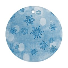 Winter Bokeh Blue Round Ornament (two Sides)  by MoreColorsinLife