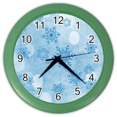 Winter Bokeh Blue Color Wall Clocks by MoreColorsinLife