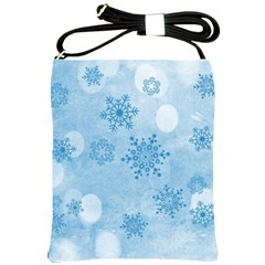 Winter Bokeh Blue Shoulder Sling Bags by MoreColorsinLife