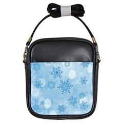 Winter Bokeh Blue Girls Sling Bags by MoreColorsinLife