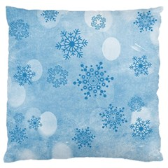 Winter Bokeh Blue Large Cushion Cases (one Side)  by MoreColorsinLife
