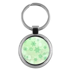 Winter Bokeh Green Key Chains (round)  by MoreColorsinLife