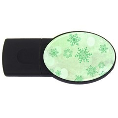 Winter Bokeh Green Usb Flash Drive Oval (2 Gb)  by MoreColorsinLife