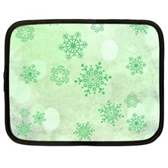 Winter Bokeh Green Netbook Case (large)	 by MoreColorsinLife