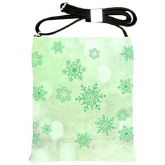 Winter Bokeh Green Shoulder Sling Bags by MoreColorsinLife