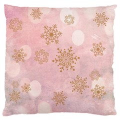 Winter Bokeh Pink Large Flano Cushion Cases (one Side)  by MoreColorsinLife