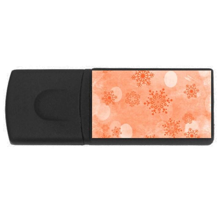 Winter Bokeh Red USB Flash Drive Rectangular (4 GB)