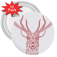 Modern red geometric christmas deer illustration 3  Buttons (10 pack)  by Dushan