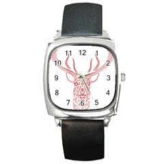 Modern Red Geometric Christmas Deer Illustration Square Metal Watches by Dushan