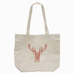 Modern Red Geometric Christmas Deer Illustration Tote Bag (cream)  by Dushan