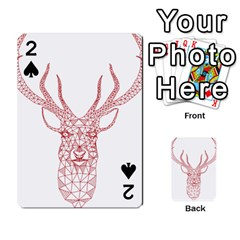 Modern Red Geometric Christmas Deer Illustration Playing Cards 54 Designs
