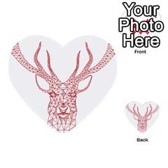 Modern Red Geometric Christmas Deer Illustration Multi Purpose Cards (heart)