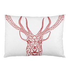 Modern Red Geometric Christmas Deer Illustration Pillow Cases by Dushan