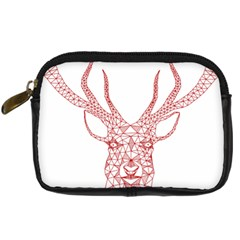 Modern Red Geometric Christmas Deer Illustration Digital Camera Cases by Dushan