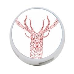 Modern Red Geometric Christmas Deer Illustration 4 Port Usb Hub (one Side) by Dushan