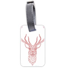 Modern Red Geometric Christmas Deer Illustration Luggage Tags (one Side)  by Dushan