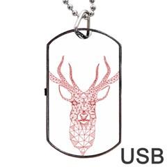 Modern Red Geometric Christmas Deer Illustration Dog Tag Usb Flash (one Side) by Dushan