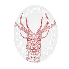 Modern Red Geometric Christmas Deer Illustration Ornament (oval Filigree)  by Dushan