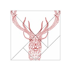 Modern Red Geometric Christmas Deer Illustration Acrylic Tangram Puzzle (4  X 4 ) by Dushan