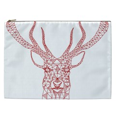 Modern Red Geometric Christmas Deer Illustration Cosmetic Bag (xxl)  by Dushan