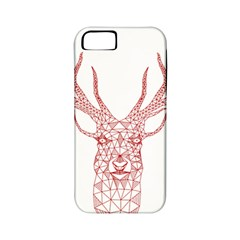 Modern Red Geometric Christmas Deer Illustration Apple Iphone 5 Classic Hardshell Case (pc+silicone) by Dushan