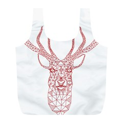 Modern Red Geometric Christmas Deer Illustration Full Print Recycle Bags (l)  by Dushan