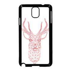 Modern Red Geometric Christmas Deer Illustration Samsung Galaxy Note 3 Neo Hardshell Case (black) by Dushan