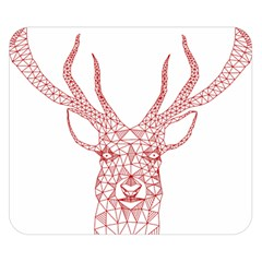 Modern Red Geometric Christmas Deer Illustration Double Sided Flano Blanket (small)  by Dushan
