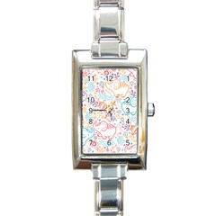 Cute Pastel Tones Elephant Pattern Rectangle Italian Charm Watches by Dushan