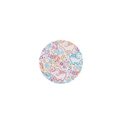 Cute pastel tones elephant pattern 1  Mini Magnets by Dushan