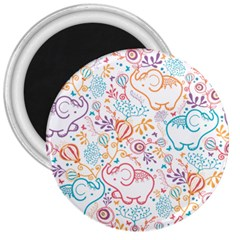 Cute pastel tones elephant pattern 3  Magnets by Dushan