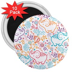 Cute Pastel Tones Elephant Pattern 3  Magnets (10 Pack)  by Dushan