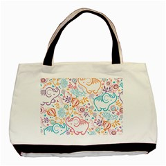 Cute Pastel Tones Elephant Pattern Basic Tote Bag (two Sides)  by Dushan