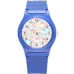 Cute Pastel Tones Elephant Pattern Round Plastic Sport Watch (s) by Dushan