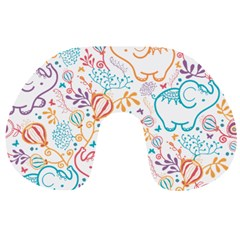 Cute Pastel Tones Elephant Pattern Travel Neck Pillows by Dushan